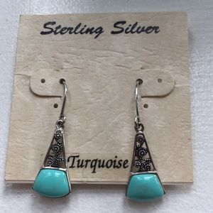Sterling silver turquoise dangly earrings NWT